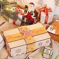 Коробка для новогоднего подарка от Деда Мороза из фанеры с бантом