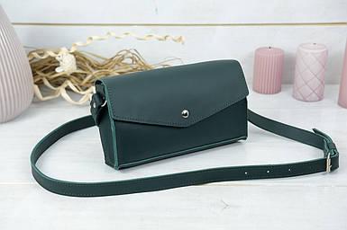 Сумка женская. Кожаная сумочка Ромбик, кожа Grand, цвет Зеленый