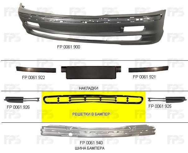 Решітка в бампер середня BMW 3 (E46) '98-01 (FPS) 51118209927