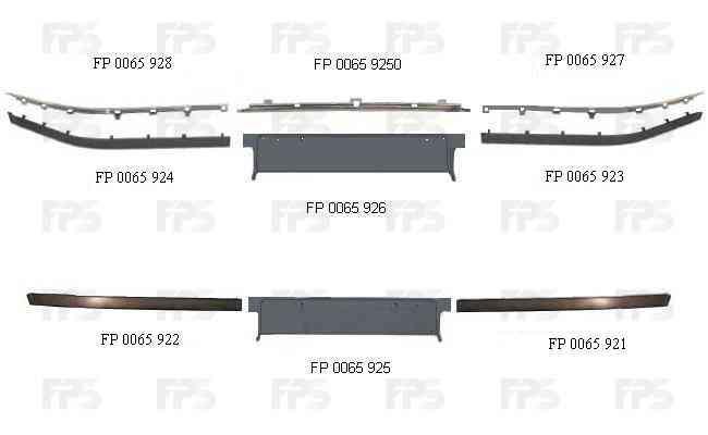 Накладка переднього бампера BMW 5 E39 96-00 ліва, чорн., під Молдинг (FPS) FP 0065 923 51118226561