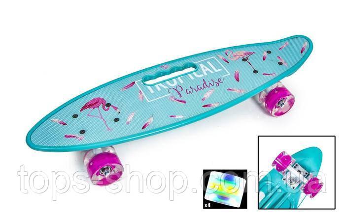 Скейт Penny Board, із широкими світлими колесами і ручкою, Пенні борд, дитячий ,від 5 років, Блакитний з Фламінго