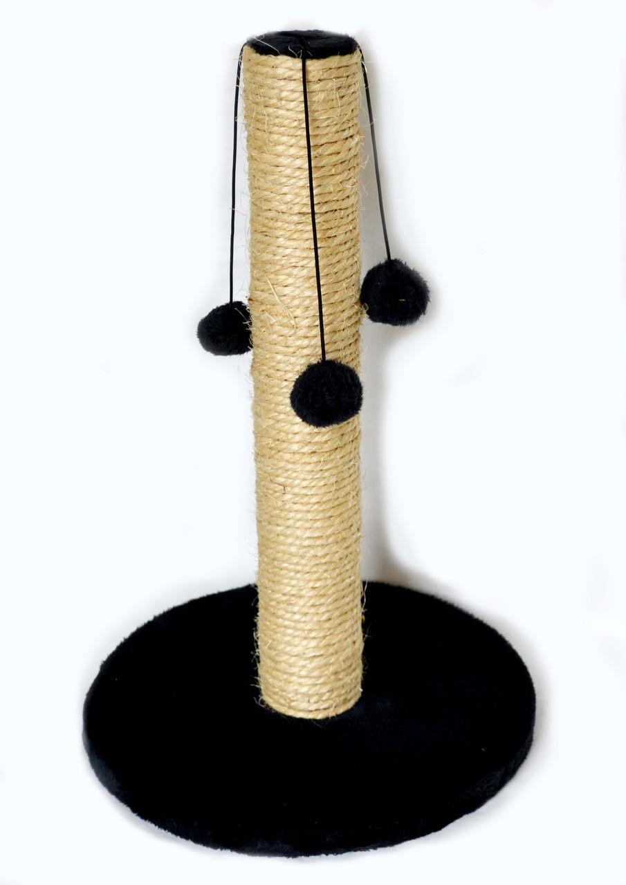 Когтеточка-столбик на круглой  подставке, сизаль с меховыми шариками, 30х45см