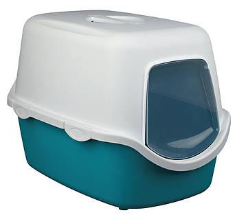 Туалет бокс для кошек ВІКО (Vico) аквамарин/белый