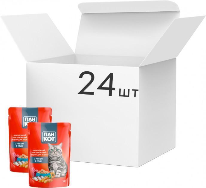 Упаковка влажного корма для кошек Пан Кот Рыба в соусе 100 г x 24 шт