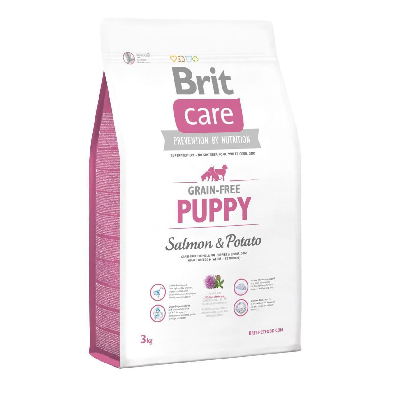 Сухой корм для щенков всех пород Brit Care GF Puppy Salmon & Potato 3 кг (лосось и картофель)
