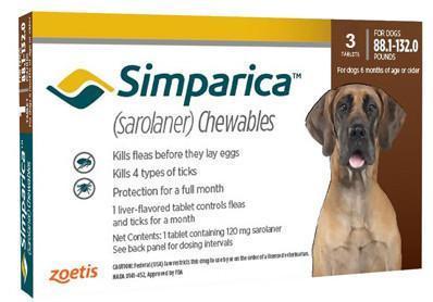 Симпарика таблетки от блох и клещей для собак 40-60кг