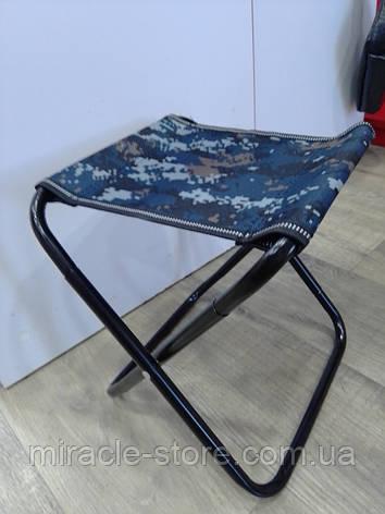 Розкладний стілець без спинки для пікніка Камуфляж Табурет туристичний Стілець для риболовлі Великий, фото 2