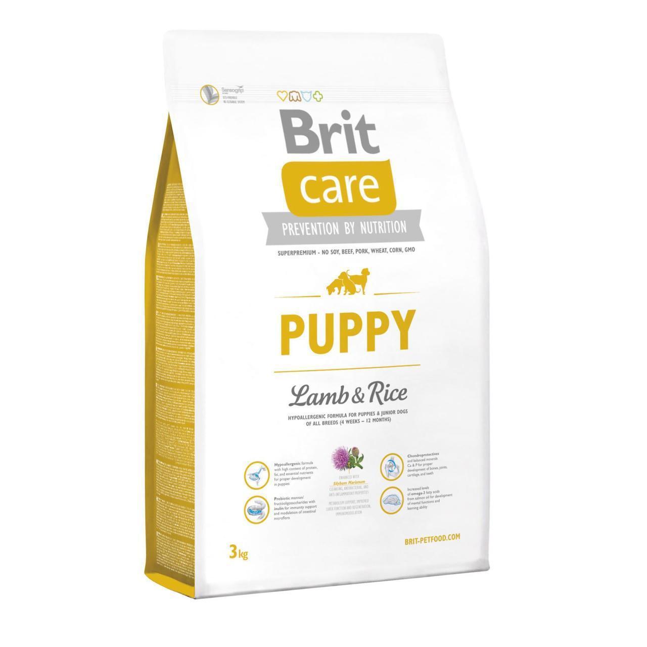 Сухой корм для щенков всех пород Brit Care Puppy Lamb & Rice 3 кг (ягненок и рис)