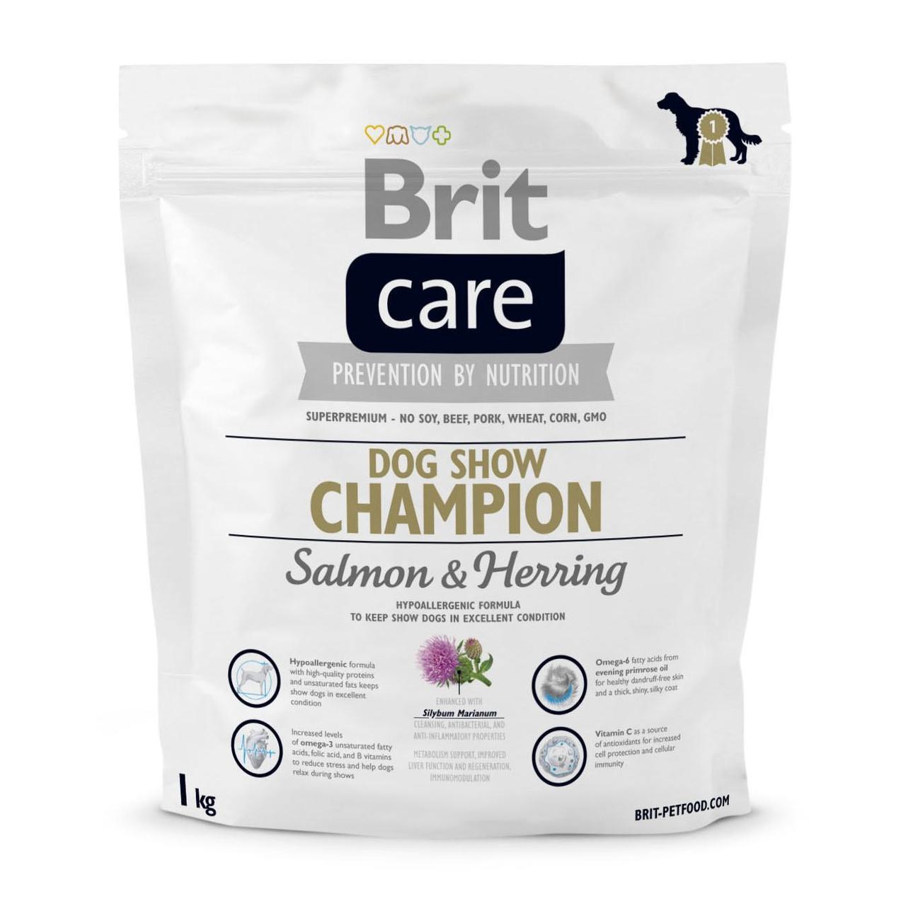 Сухой корм для выставочных собак всех пород Brit Care Dog Show Champion 1 кг (лосось и сельдь)