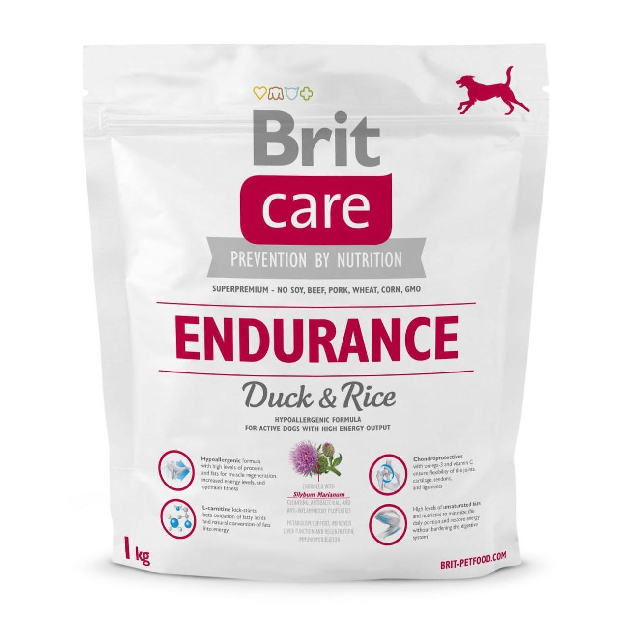 Сухой корм для активных собак всех пород Brit Care Endurance 1 кг (утка и рис)