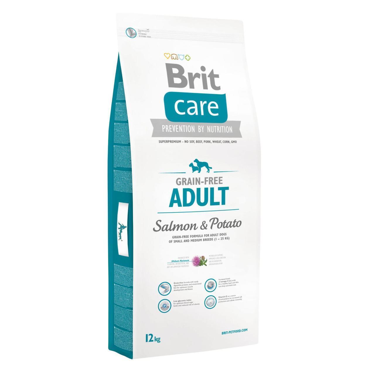 Сухой корм для взрослых собак мелких и средних пород (весом до 25 кг) Brit Care GF Adult Salmon & Potato 12 кг