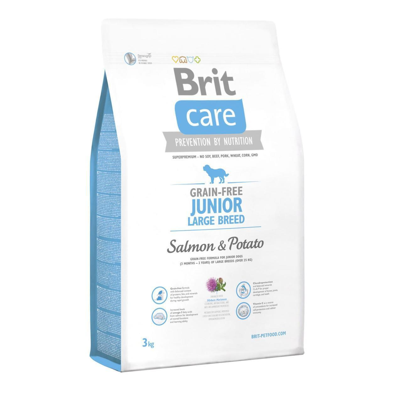 Сухой корм для щенков и молодых собак крупных пород (весом от 25 кг) Brit Care GF Junior Large Breed Salmon &