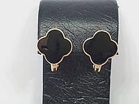 Золоті сережки в стилі Ван Кліф з емаллю. Артикул 1720556Ч, фото 1