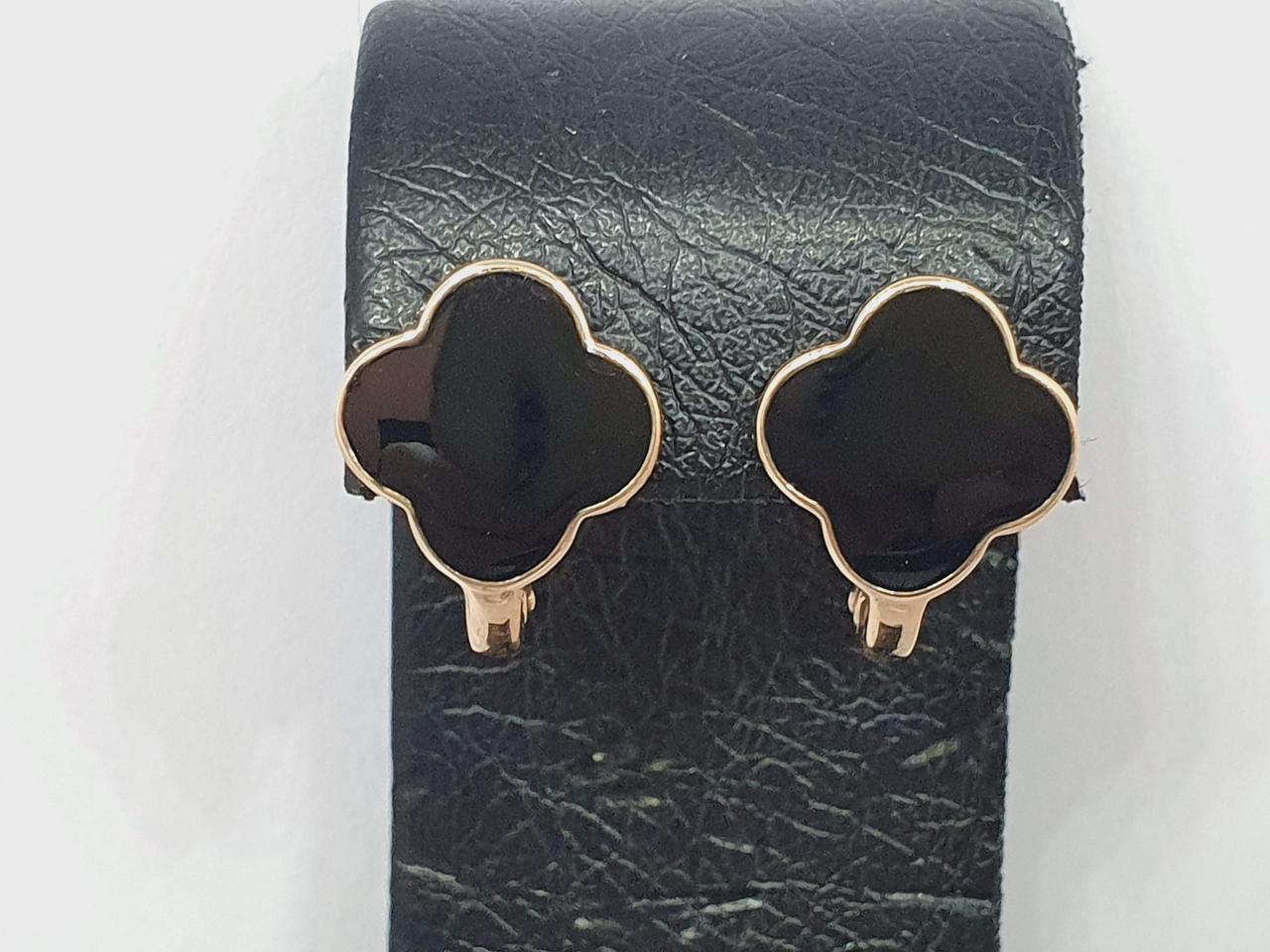 Золоті сережки в стилі Ван Кліф з емаллю. Артикул 1720556Ч
