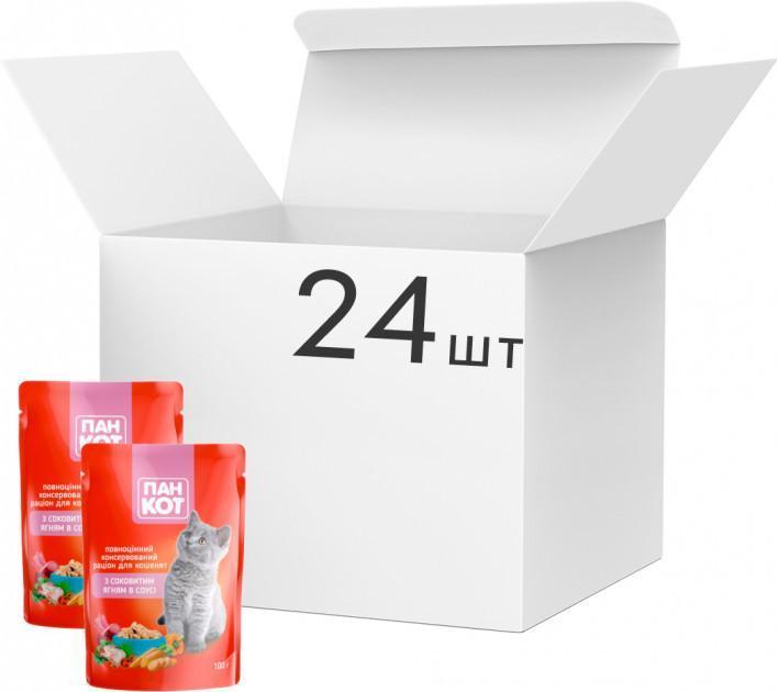 Упаковка влажного корма для кошек Пан Кот Ягненок в соусе 100 г x 24 шт