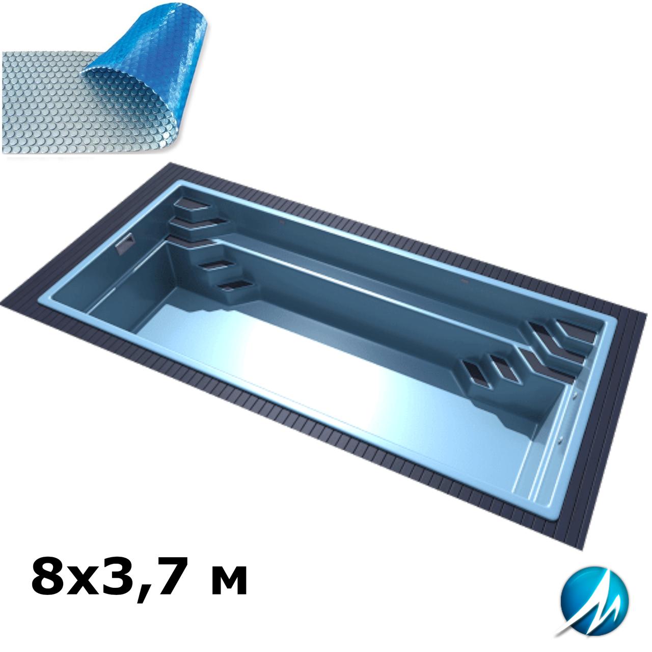 Солярне накриття для скловолоконного басейну 8х3,7 м