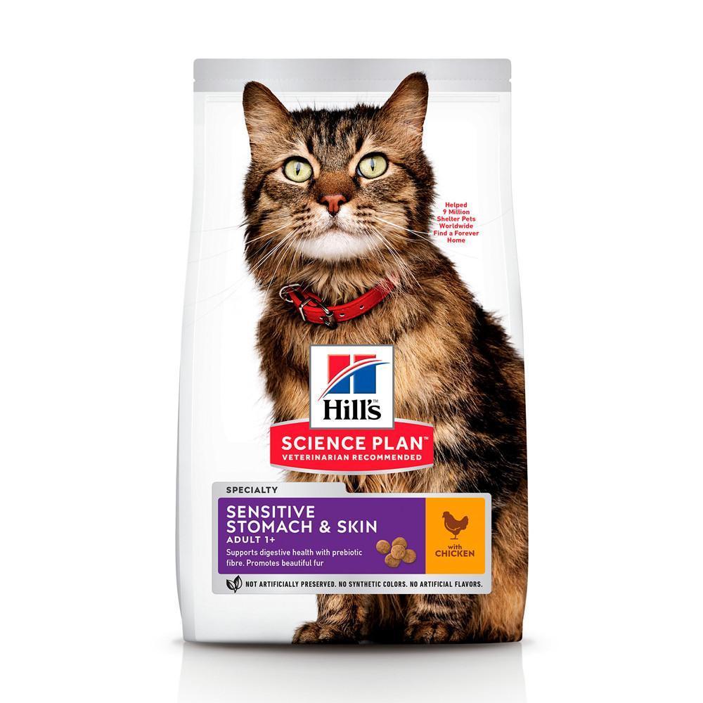 Сухой корм Hill's Science Plan Sensitive Stomach & Skin для взрослых кошек с чувствительным пищеварение - 7 кг