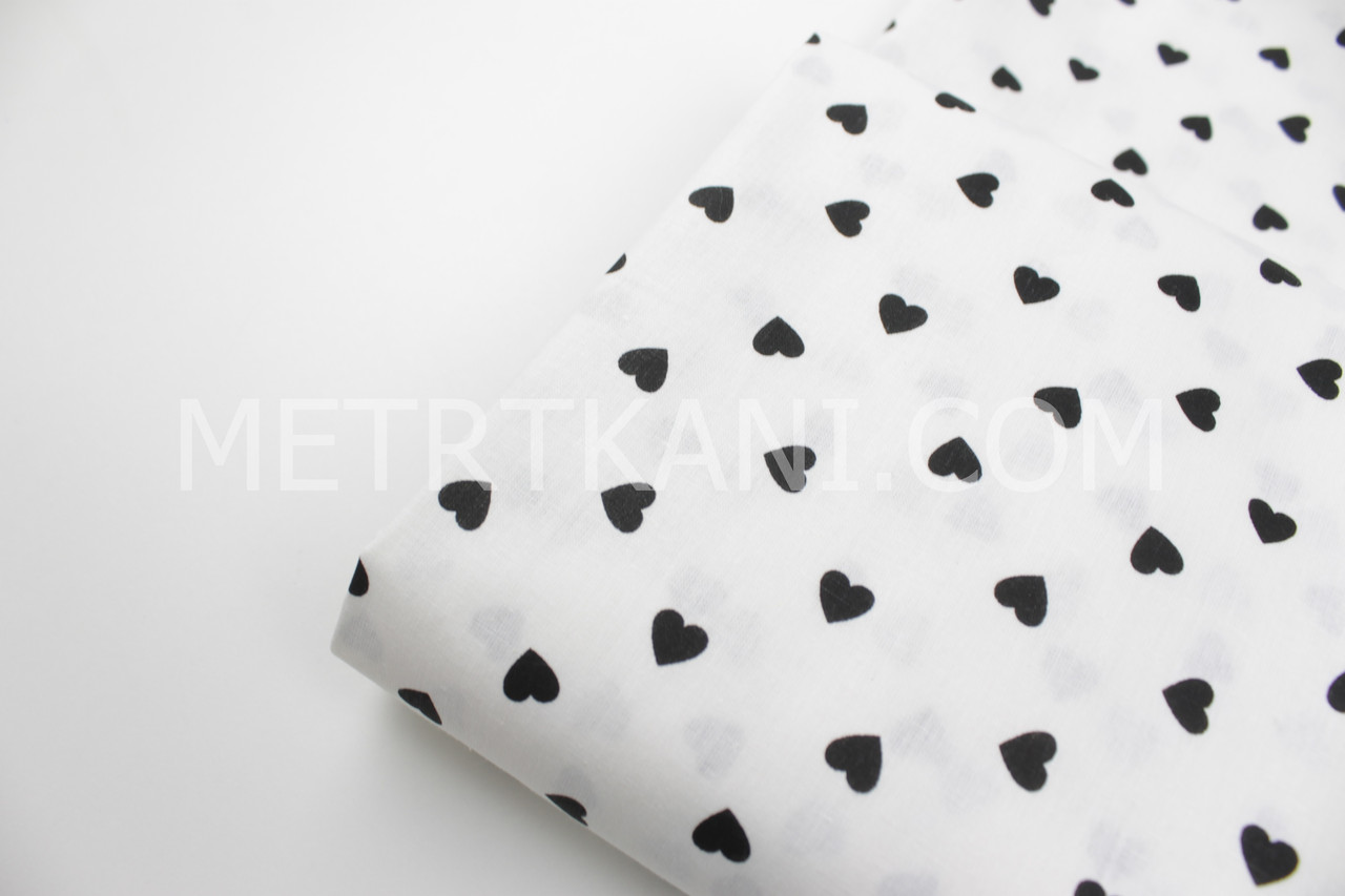 """Лоскуток. Ткань хлопковая """"Маленькие черные сердца""""  на белом фоне  100*154 см"""