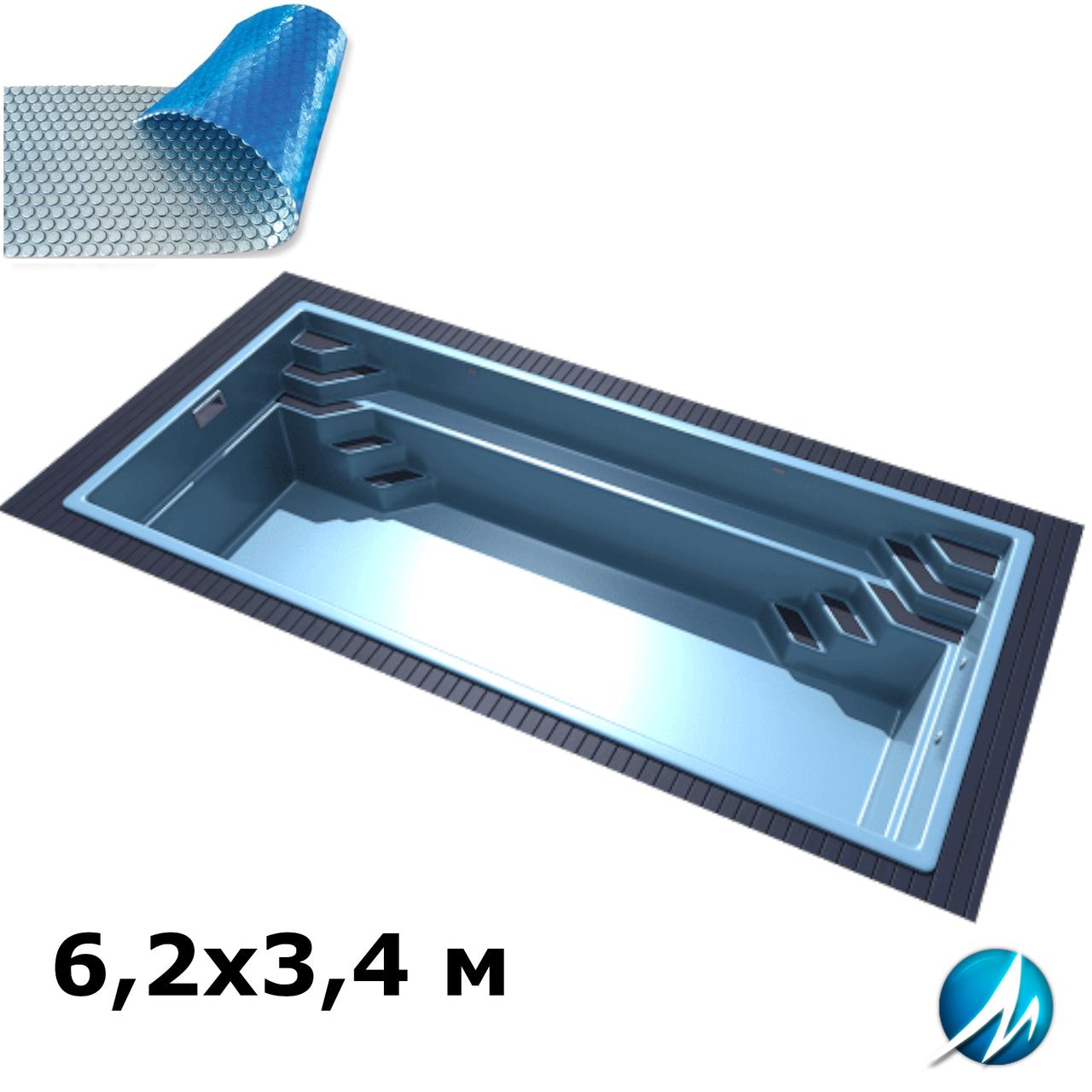 Солярное накрытие для стекловолоконного бассейна 6,2х3,4 м