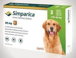 Симпарика таблетки от блох и клещей для собак 20-40кг