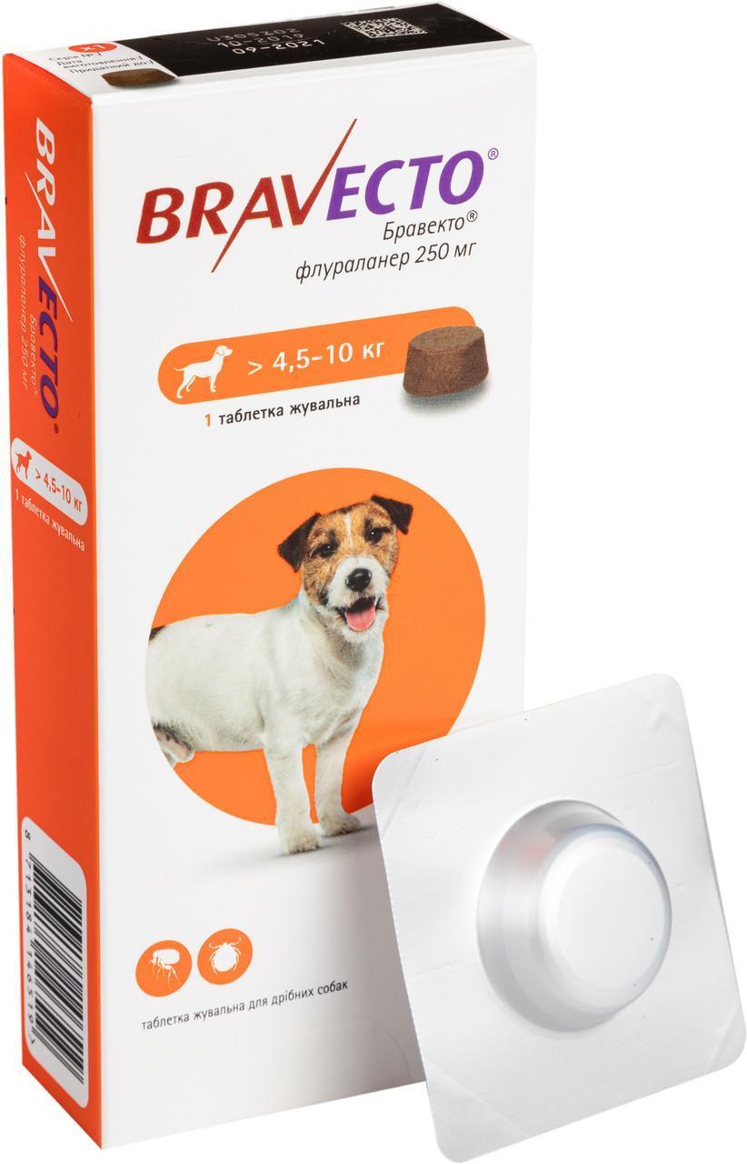 Бравекто жевательная таблетка для защиты собак от клещей и блох от 4.5 - 10 кг,