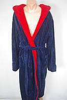 Мужской махровый халат  синий с красным M,L,XL,XXL,XXXL