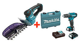 Аккумуляторный кусторез Makita UH201DZ + акк шуруповерт HP333DWYE + 2 акб 12 V 1.5 Ah + з у + кей, КОД: