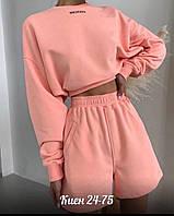 Жіночий стильний спортивний костюм, кофта та шорти, фото 1