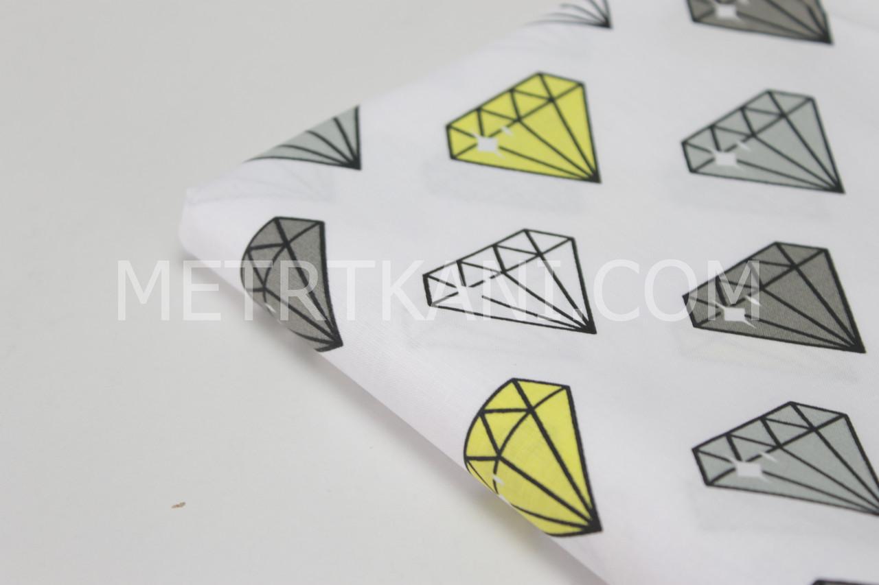 """Лоскуток. Хлопковая ткань """"Бриллианты"""" серые и желтые на белом   64*160 см"""