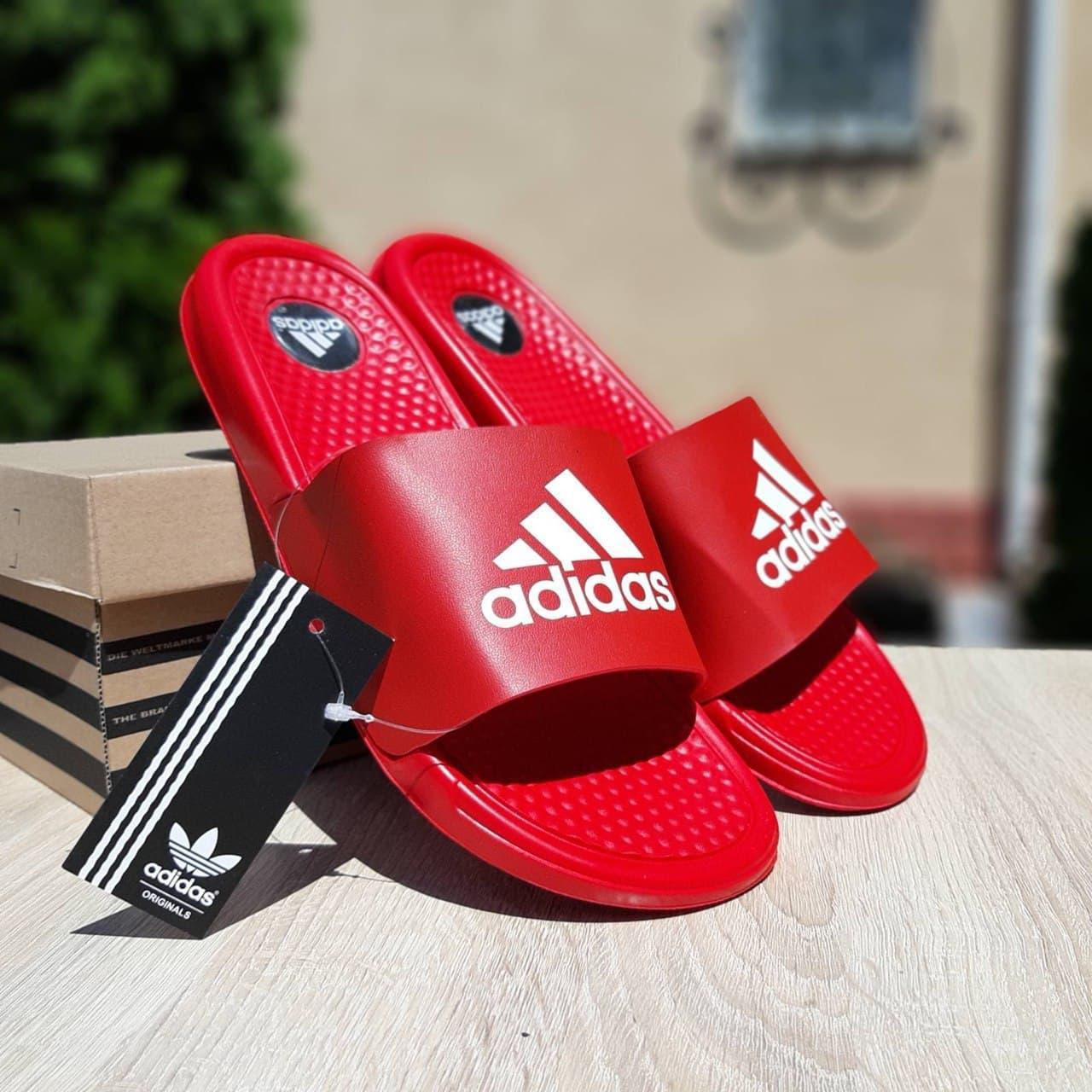 Мужские шлепки Adidas (красные) О40019 модные массажные легкие тапочки