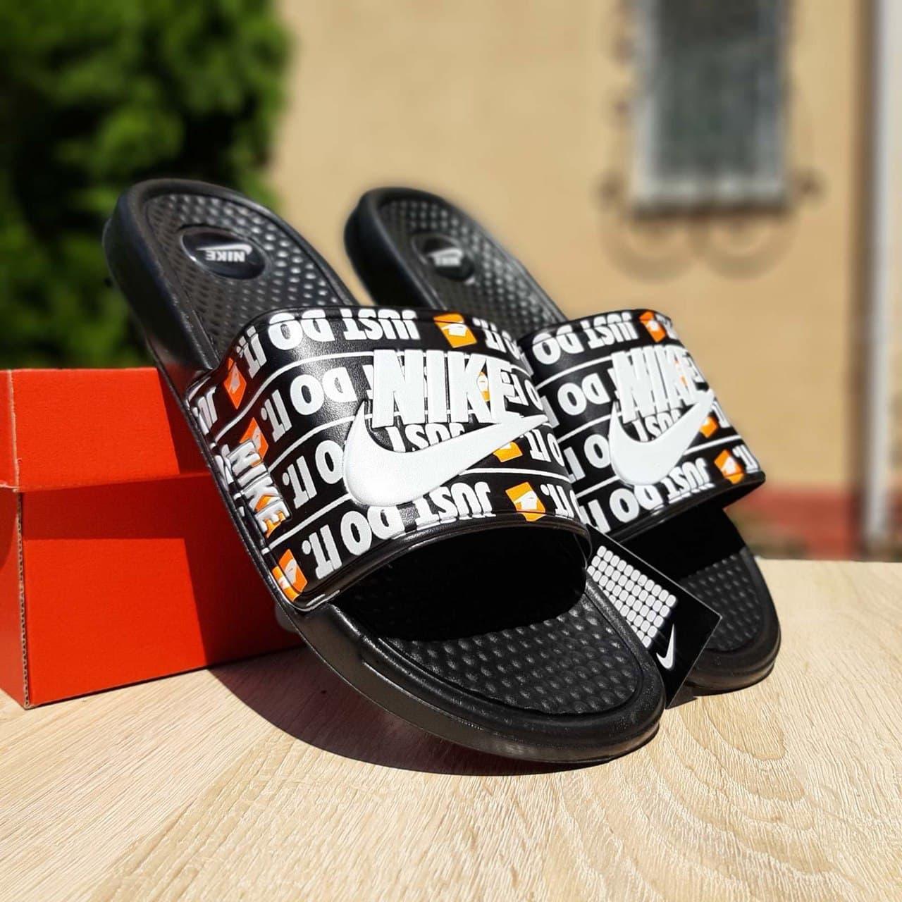 Мужские шлепки Nike Just Do IT (черные с белым) О40020 модные массажные удобные тапочки