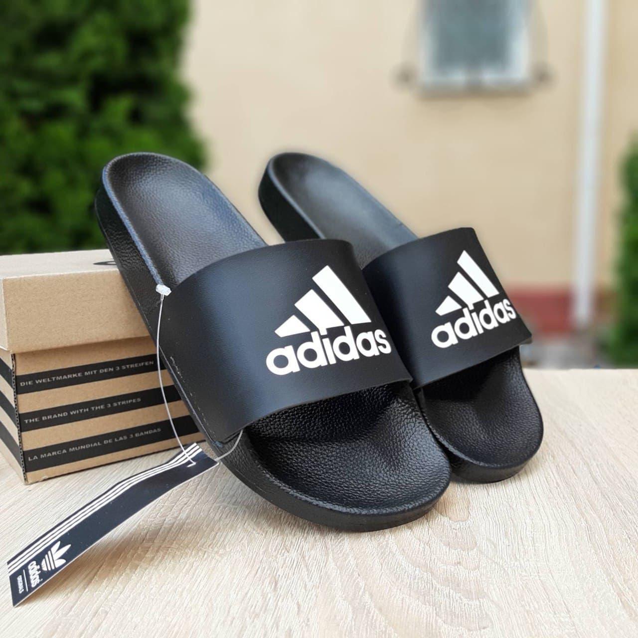 Мужские шлепки Adidas (черные) О40024 крутые массажные тапочки