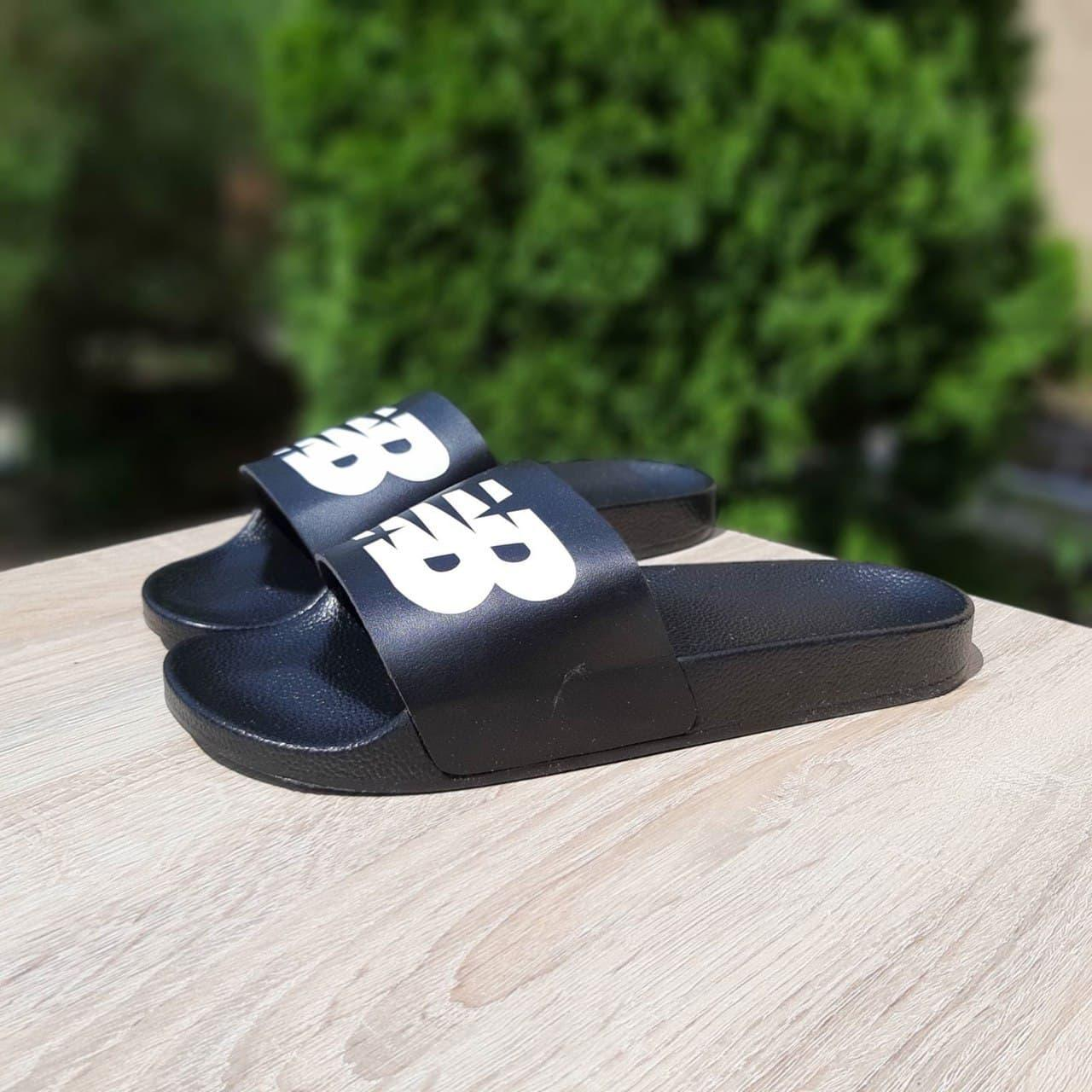 Мужские шлепки New Balance (черные) О40023 легкие удобные тапочки
