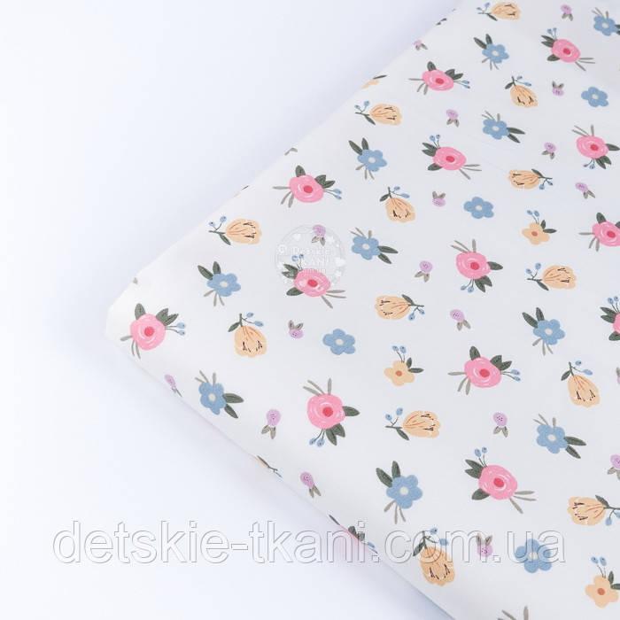 """Лоскут сатина """"Одиночные мелкие цветочки"""" на белом, №3445с, размер 30*80 см"""
