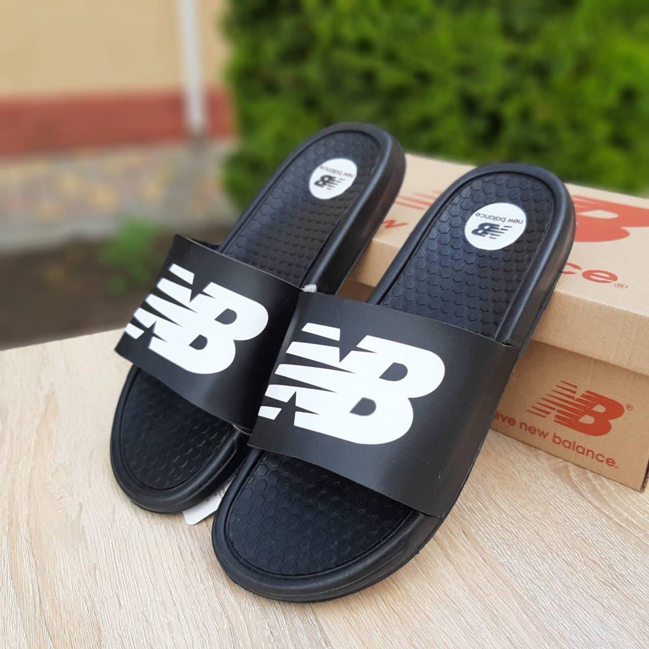 Мужские шлепки New Balance (черные) О40039 легкие удобные тапочки массажные