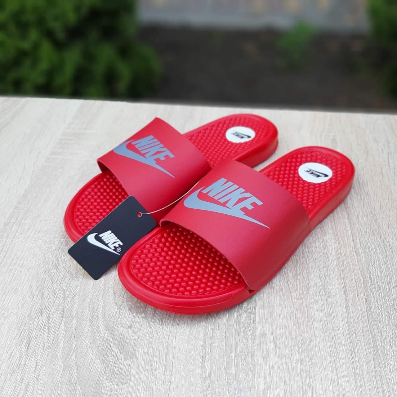 Мужские шлепки Nike (красные) О40040 рефлективные массажные удобные тапочки