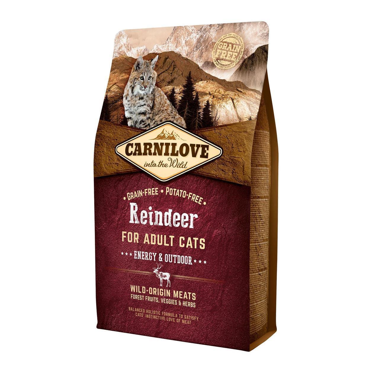 Сухой корм для активных кошек Carnilove Cat Raindeer - Energy & Outdoor 2 кг (оленина и кабан)