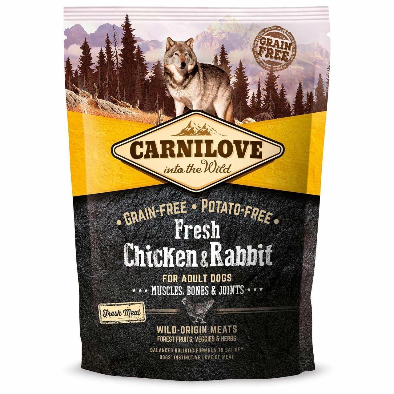 Сухой корм для взрослых собак всех пород Carnilove Fresh Chicken & Rabbit 1,5 кг (курица и кролик)
