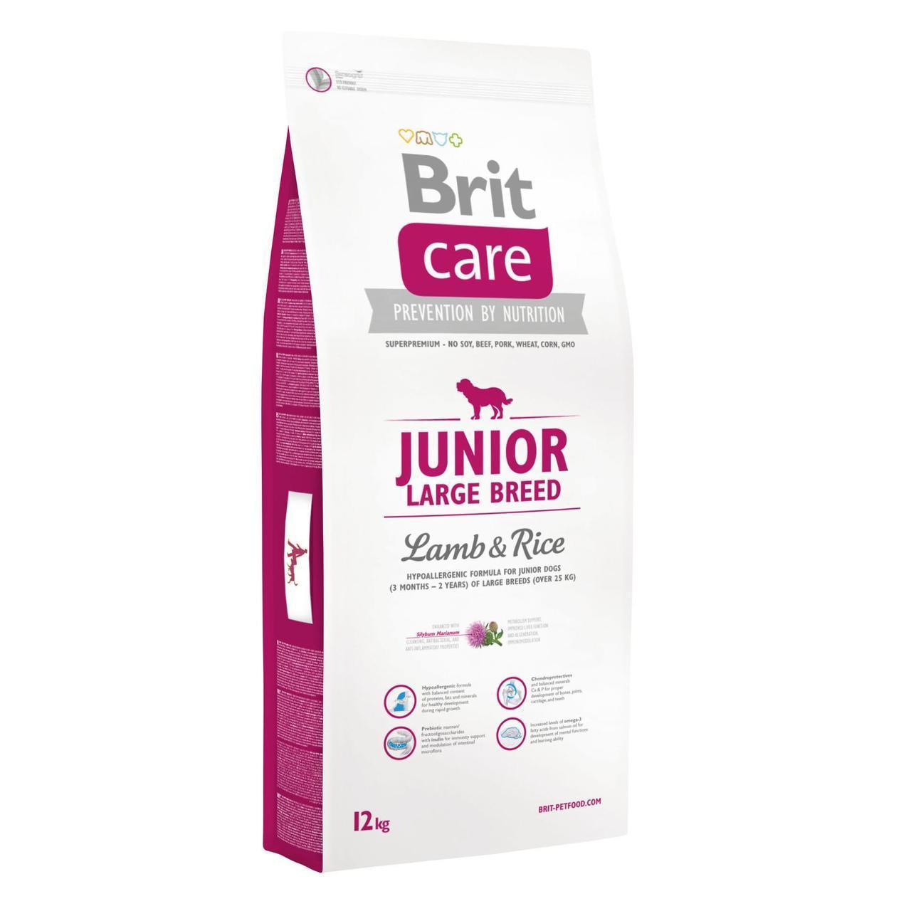 Сухой корм для щенков и молодых собак крупных пород (весом от 25 кг) Brit Care Junior Large Breed Lamb & Rice