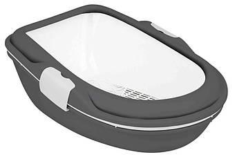 Туалет для кошек с сеткой и рамкой  Berto серый