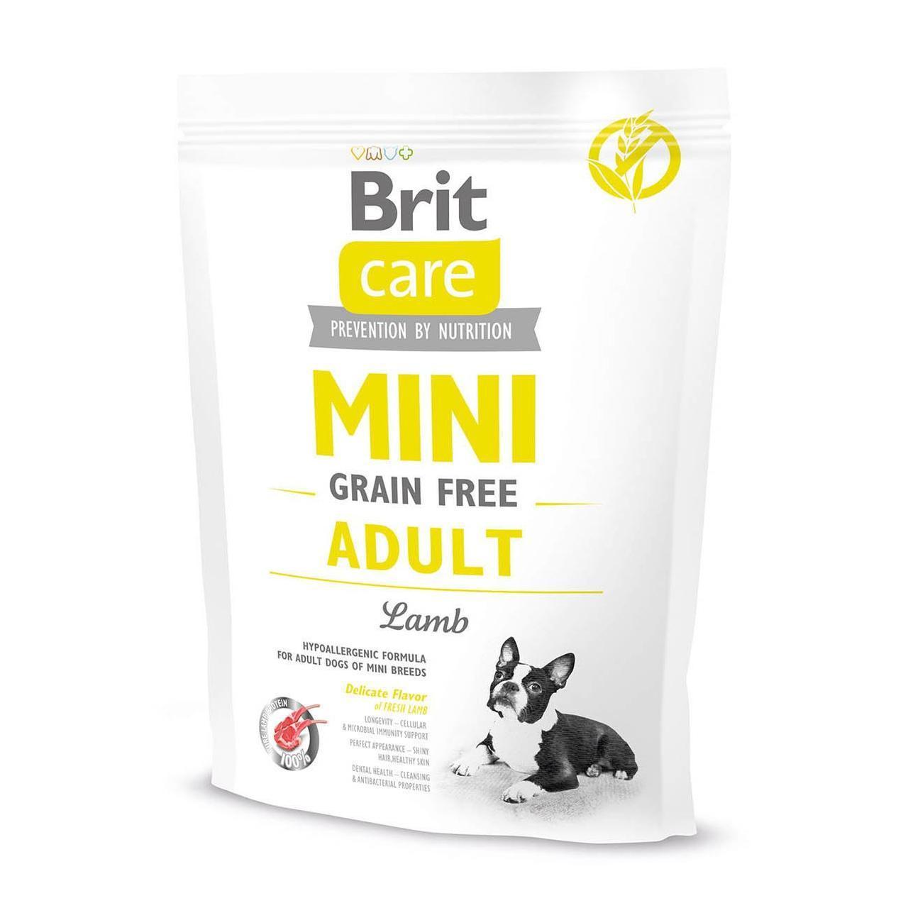 Сухой корм для взрослых собак миниатюрных пород Brit Care GF Mini Adult Lamb 400 г (ягненок)