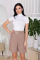 Жіночі літні лляні шорти прямого силуету, з двома бічними кишенями. Бежевого кольору, фото 1