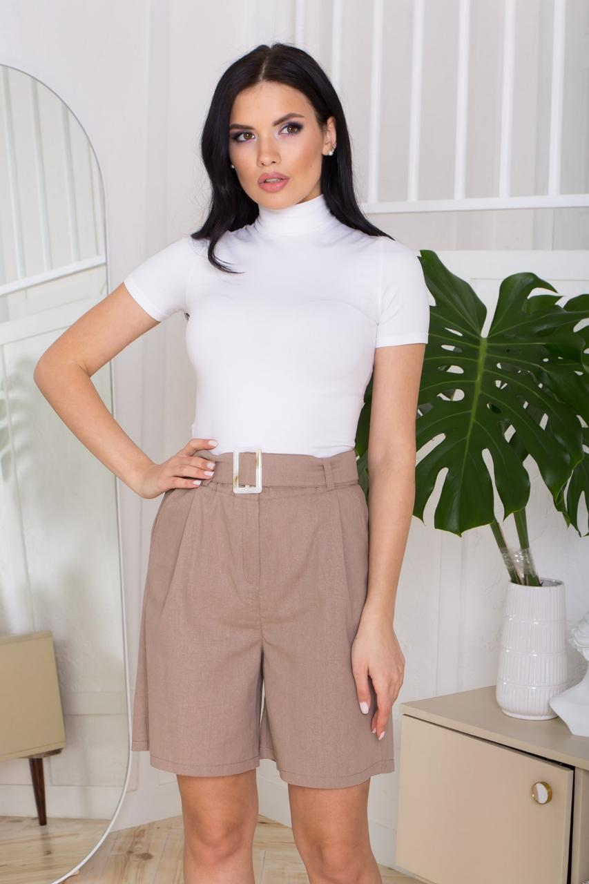 Жіночі літні лляні шорти прямого силуету, з двома бічними кишенями. Бежевого кольору