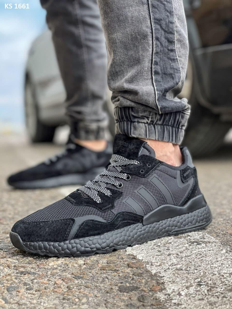 Мужские кроссовки Adidas Nite Jogger Boost 3M (черные) KS 1661 весенние модные кроссы
