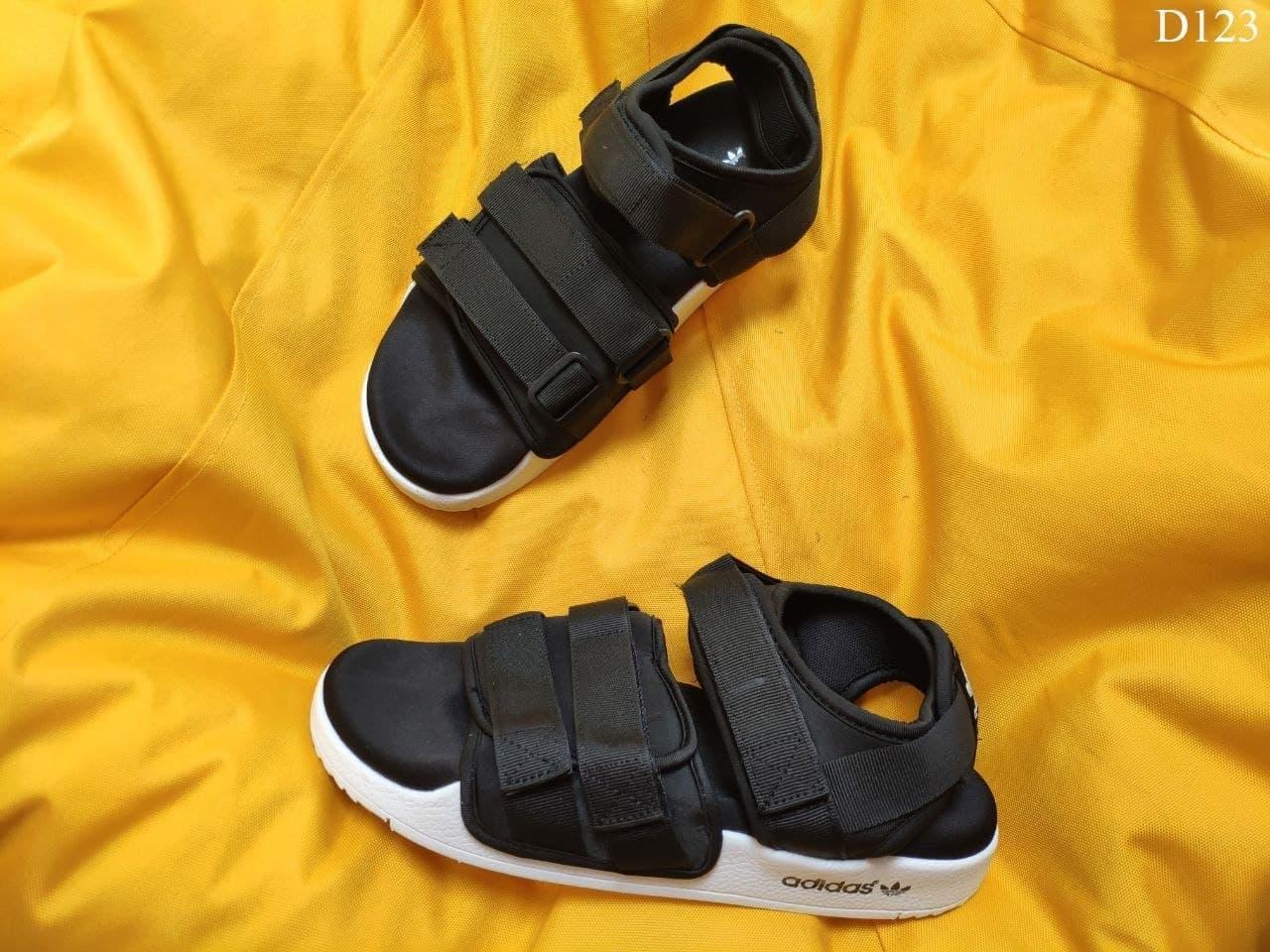 Мужские летние сандалии Adidas (черно-белые) D123 крутая легкая мягкая обувь