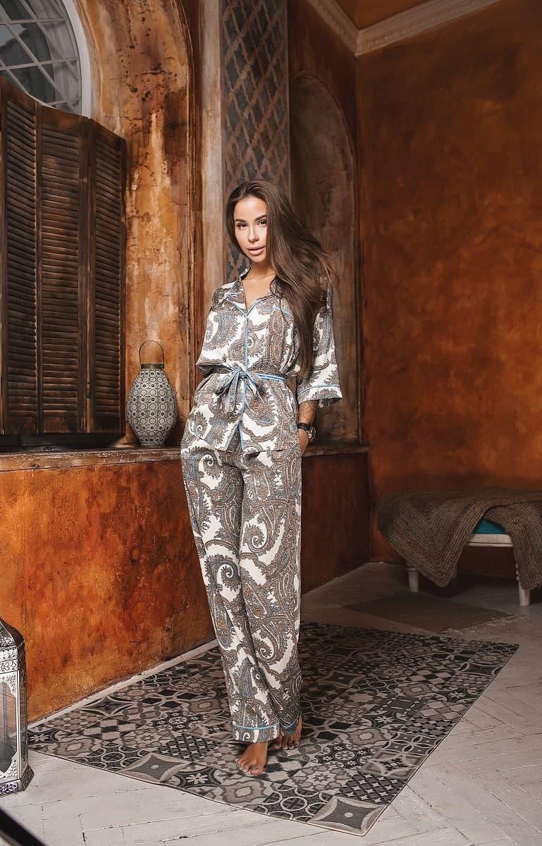 Піжамний костюм жіночий жакет з поясом та штани KAIZA
