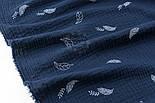 Відріз двошарового жатого мусліну з листочками на синьому тлі, розмір 75 * 135 см, фото 5