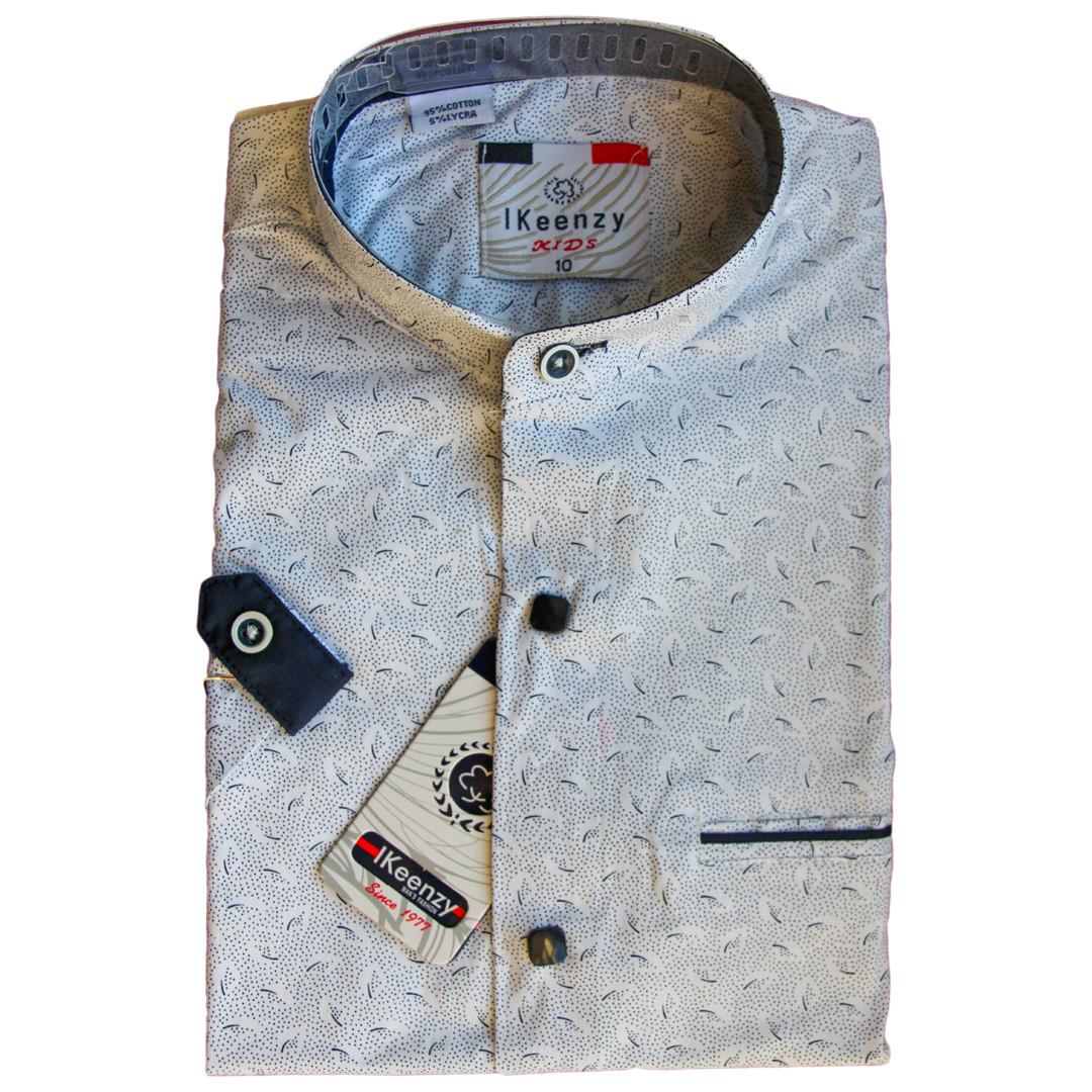 Рубашка для мальчика с коротким рукавом воротник стойка приталенная серая