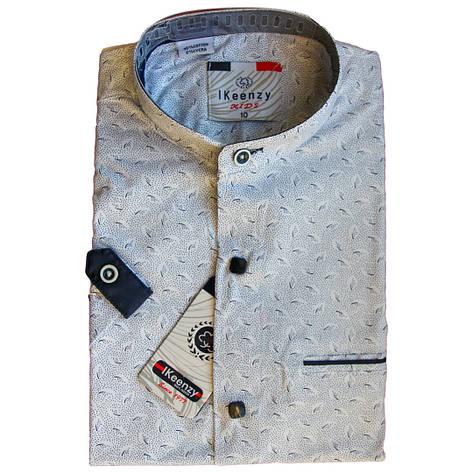 Рубашка для мальчика с коротким рукавом воротник стойка приталенная серая, фото 2