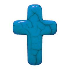 Подвеска Кулон Крестик Голубой, Размер 25 мм, Фурнитура для Кулонов, для Бижутерии